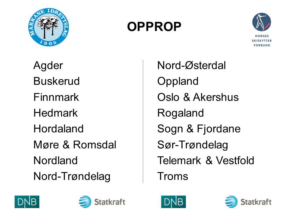 OPPROP Agder Buskerud Finnmark Hedmark Hordaland Møre & Romsdal Nordland Nord-Trøndelag Nord-Østerdal Oppland Oslo & Akershus Rogaland Sogn & Fjordane Sør-Trøndelag Telemark & Vestfold Troms ARRAN GØRLO GO