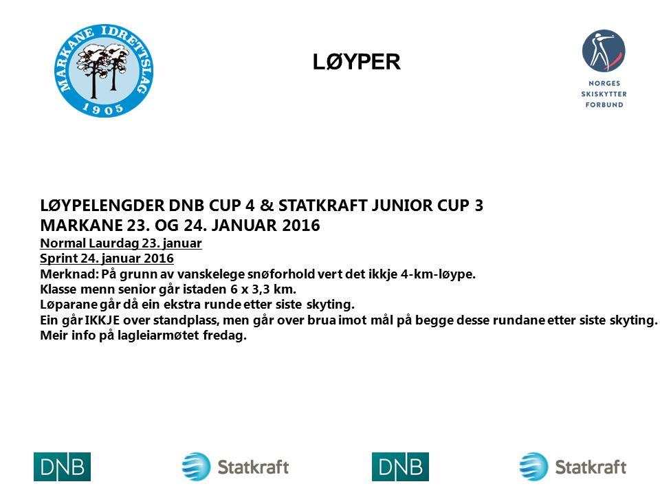 LØYPER L Ø YPELENGDER DNB CUP 4 & STATKRAFT JUNIOR CUP 3 MARKANE 23. OG 24. JANUAR 2016 Normal Laurdag 23. januar Sprint 24. januar 2016 Merknad: P å