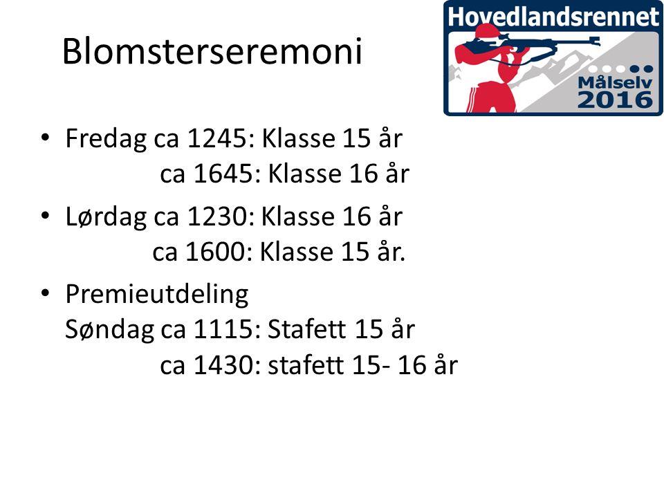 Blomsterseremoni Fredag ca 1245: Klasse 15 år ca 1645: Klasse 16 år Lørdag ca 1230: Klasse 16 år ca 1600: Klasse 15 år.