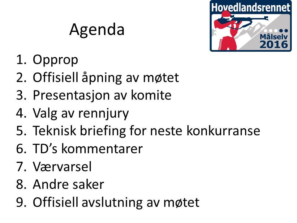 1.Opprop 2.Offisiell åpning av møtet 3.Presentasjon av komite 4.Valg av rennjury 5.Teknisk briefing for neste konkurranse 6.TD's kommentarer 7.Værvarsel 8.Andre saker 9.Offisiell avslutning av møtet Agenda