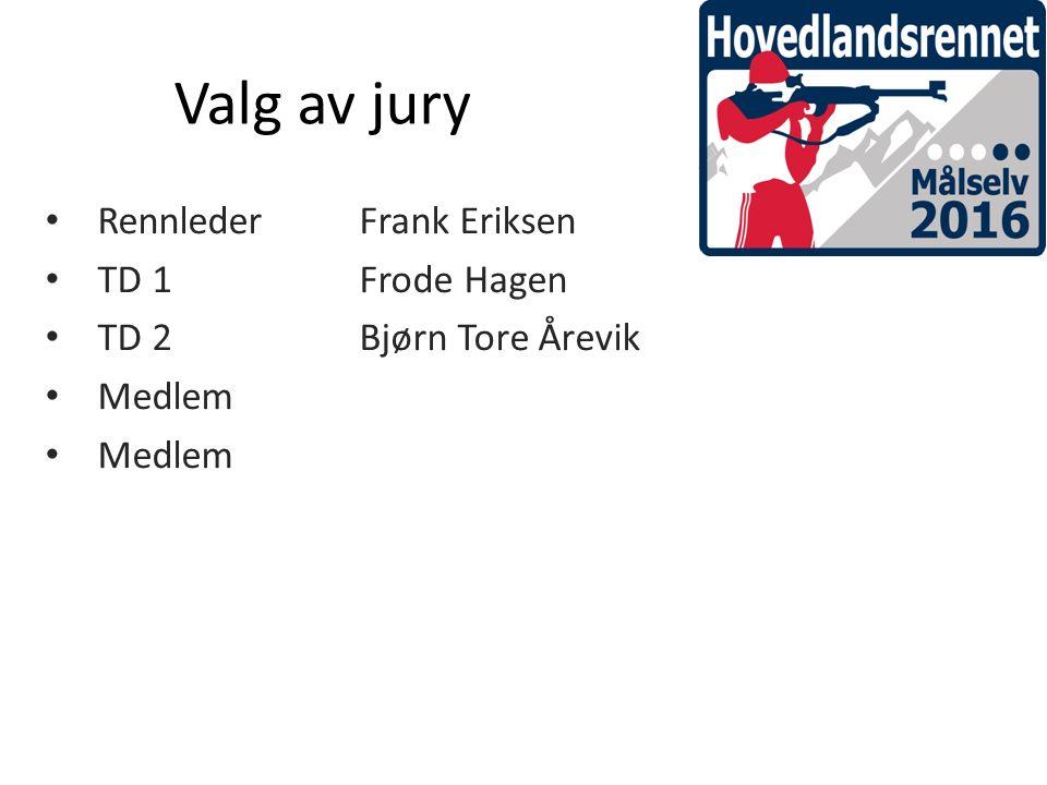 Valg av jury RennlederFrank Eriksen TD 1Frode Hagen TD 2Bjørn Tore Årevik Medlem