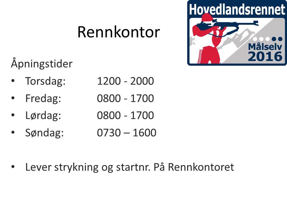 Rennkontor Åpningstider Torsdag: 1200 - 2000 Fredag:0800 - 1700 Lørdag:0800 - 1700 Søndag:0730 – 1600 Lever strykning og startnr.