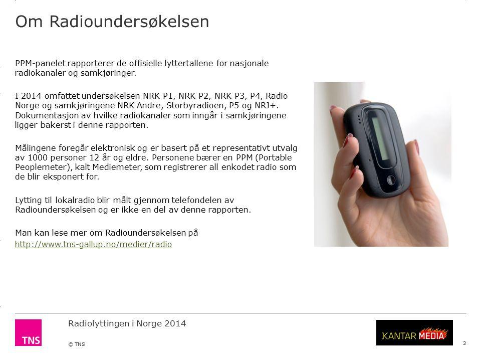 3.14 X AXIS 6.65 BASE MARGIN 5.95 TOP MARGIN 4.52 CHART TOP 11.90 LEFT MARGIN 11.90 RIGHT MARGIN Radiolyttingen i Norge 2014 © TNS 3 Markedsandeler