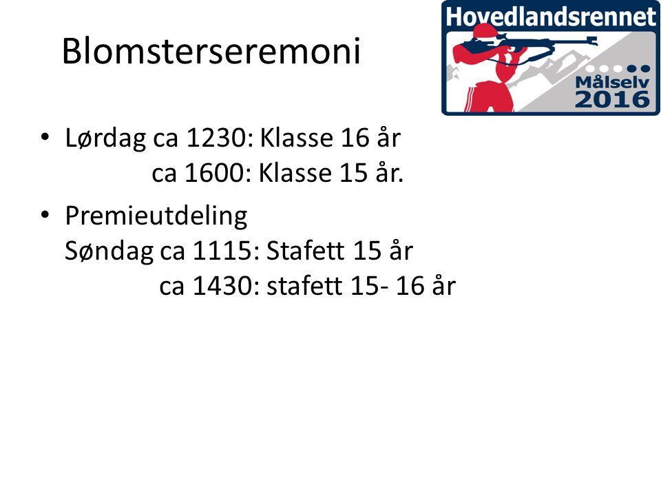 Blomsterseremoni Lørdag ca 1230: Klasse 16 år ca 1600: Klasse 15 år.