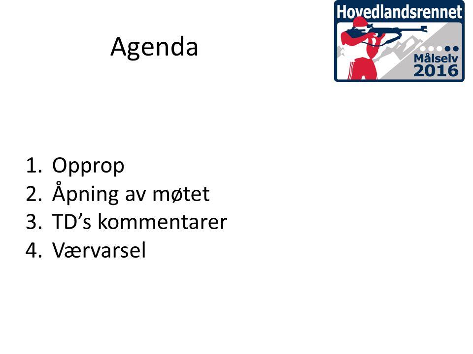 1.Opprop 2.Åpning av møtet 3.TD's kommentarer 4.Værvarsel Agenda