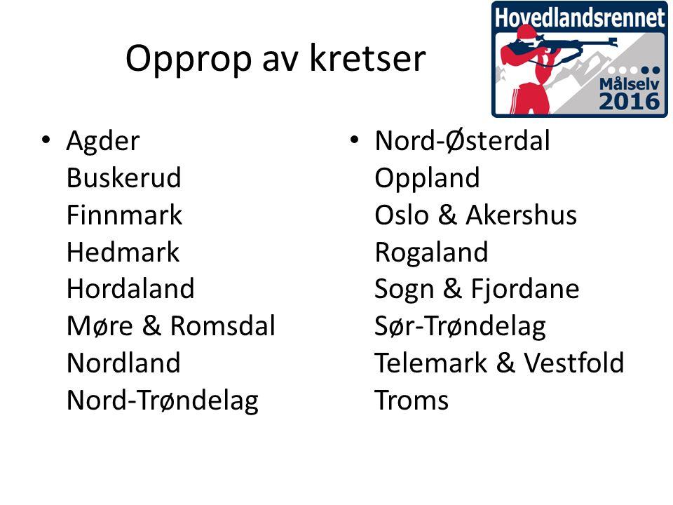 Opprop av kretser Agder Buskerud Finnmark Hedmark Hordaland Møre & Romsdal Nordland Nord-Trøndelag Nord-Østerdal Oppland Oslo & Akershus Rogaland Sogn & Fjordane Sør-Trøndelag Telemark & Vestfold Troms
