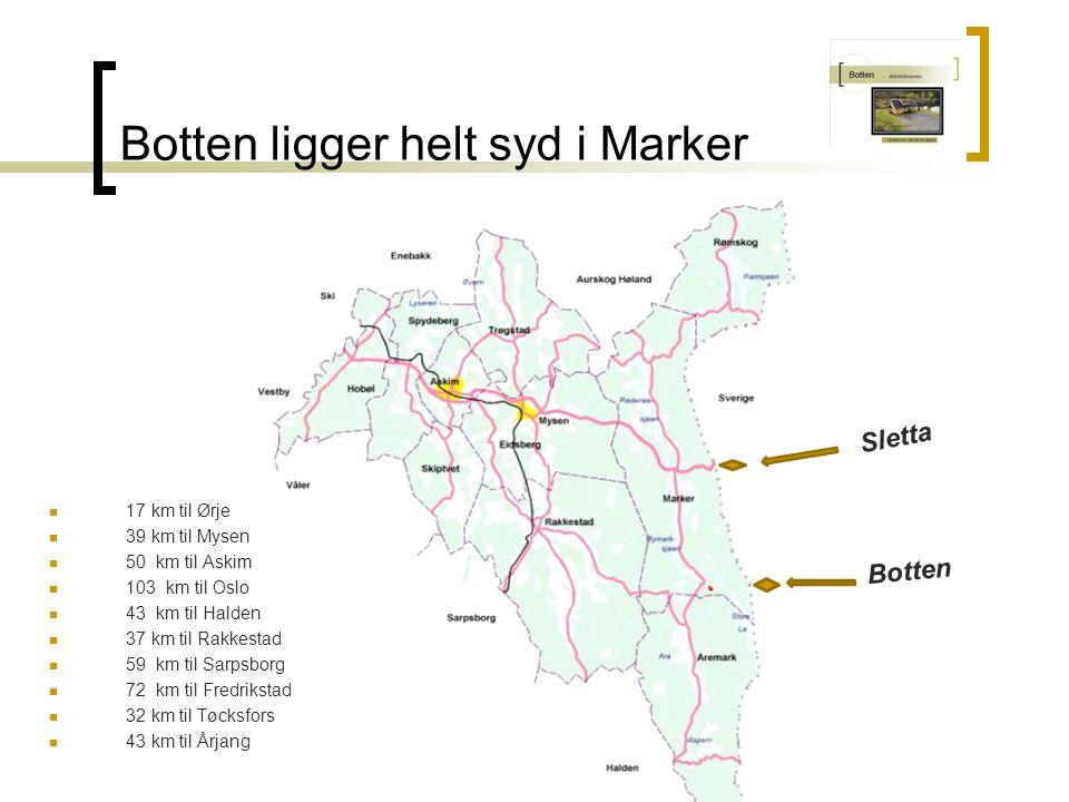 Botten ligger helt syd i Marker 17 km til Ørje 39 km til Mysen 50 km til Askim 103 km til Oslo 43 km til Halden 37 km til Rakkestad 59 km til Sarpsborg 72 km til Fredrikstad 32 km til Tøcksfors 43 km til Årjang Botten Sletta