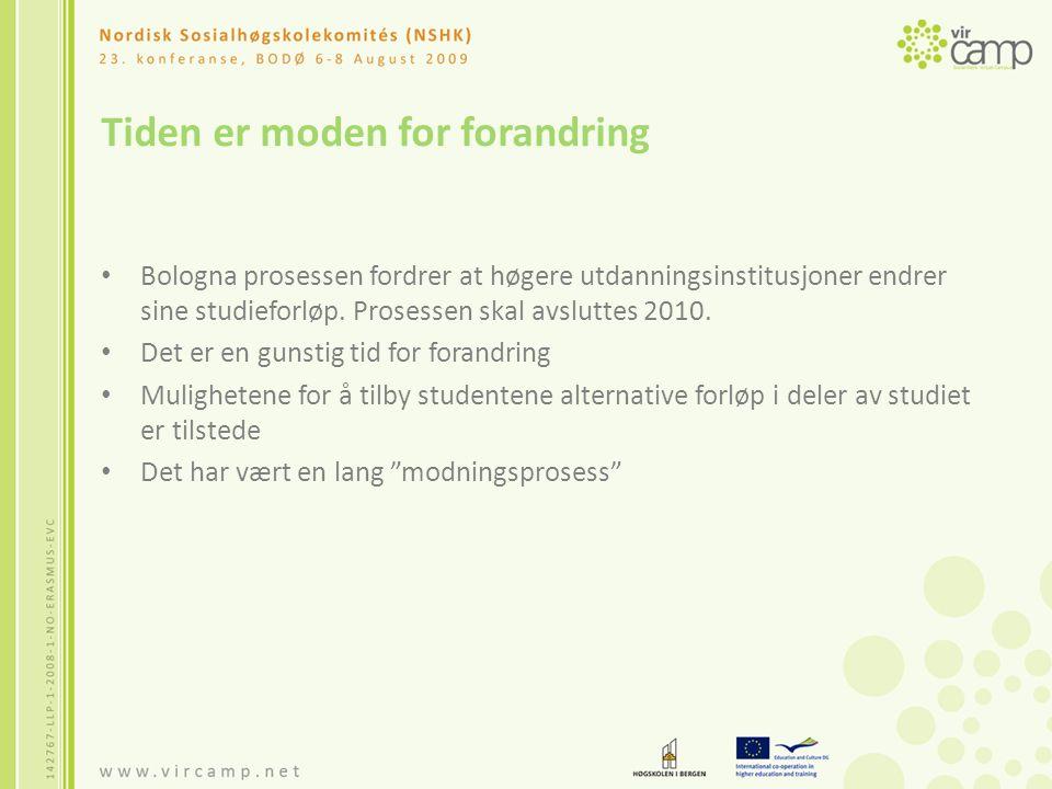 Tiden er moden for forandring Bologna prosessen fordrer at høgere utdanningsinstitusjoner endrer sine studieforløp.