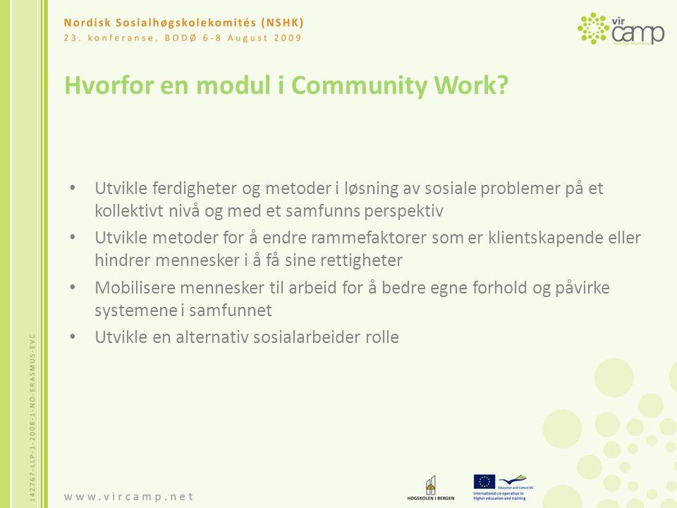 Hvorfor en modul i Community Work.