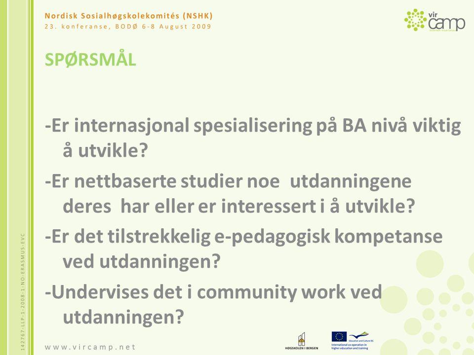 SPØRSMÅL -Er internasjonal spesialisering på BA nivå viktig å utvikle.