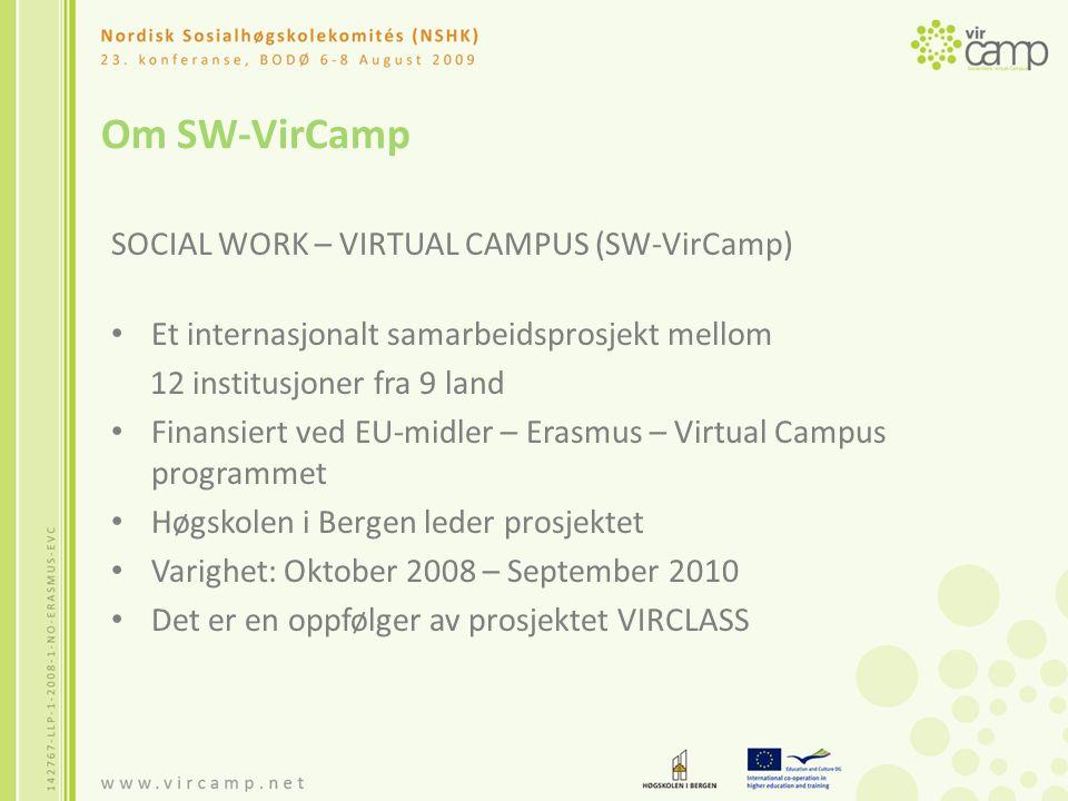 Om SW-VirCamp SOCIAL WORK – VIRTUAL CAMPUS (SW-VirCamp) Et internasjonalt samarbeidsprosjekt mellom 12 institusjoner fra 9 land Finansiert ved EU-midler – Erasmus – Virtual Campus programmet Høgskolen i Bergen leder prosjektet Varighet: Oktober 2008 – September 2010 Det er en oppfølger av prosjektet VIRCLASS
