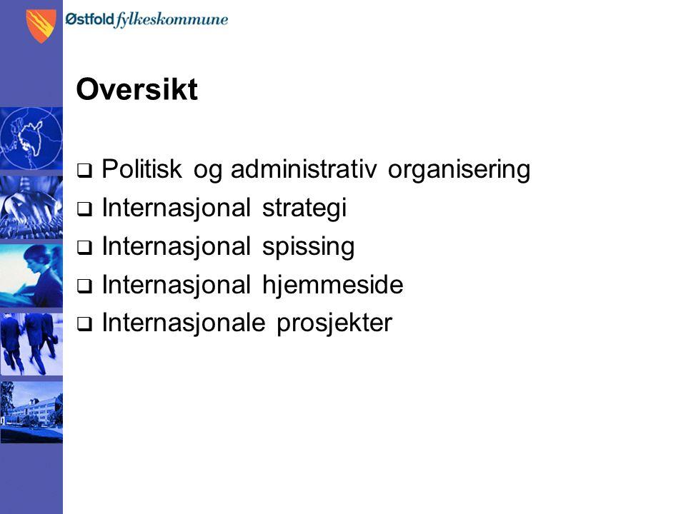 Oversikt  Politisk og administrativ organisering  Internasjonal strategi  Internasjonal spissing  Internasjonal hjemmeside  Internasjonale prosjekter