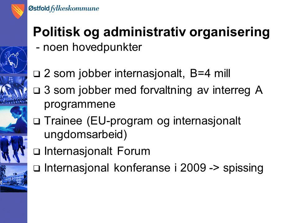Politisk og administrativ organisering - noen hovedpunkter  2 som jobber internasjonalt, B=4 mill  3 som jobber med forvaltning av interreg A programmene  Trainee (EU-program og internasjonalt ungdomsarbeid)  Internasjonalt Forum  Internasjonal konferanse i 2009 -> spissing