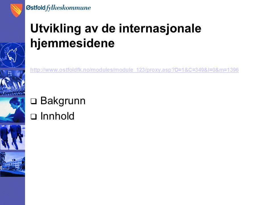 Utvikling av de internasjonale hjemmesidene http://www.ostfoldfk.no/modules/module_123/proxy.asp D=1&C=349&I=0&m=1396  Bakgrunn  Innhold