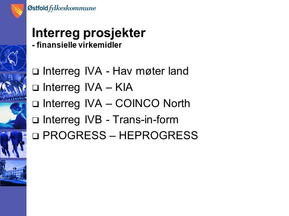 Interreg prosjekter - finansielle virkemidler  Interreg IVA - Hav møter land  Interreg IVA – KIA  Interreg IVA – COINCO North  Interreg IVB - Trans-in-form  PROGRESS – HEPROGRESS