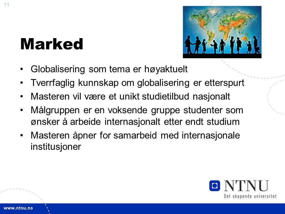 11 Marked Globalisering som tema er høyaktuelt Tverrfaglig kunnskap om globalisering er etterspurt Masteren vil være et unikt studietilbud nasjonalt Målgruppen er en voksende gruppe studenter som ønsker å arbeide internasjonalt etter endt studium Masteren åpner for samarbeid med internasjonale institusjoner