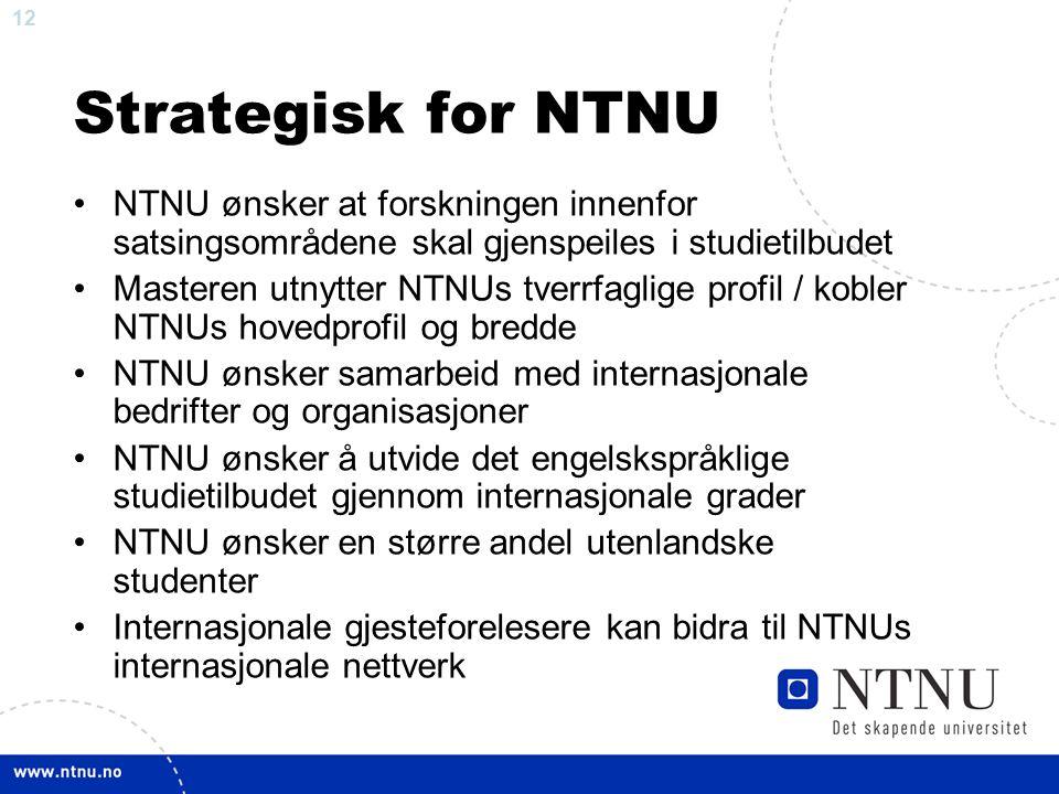 12 Strategisk for NTNU NTNU ønsker at forskningen innenfor satsingsområdene skal gjenspeiles i studietilbudet Masteren utnytter NTNUs tverrfaglige profil / kobler NTNUs hovedprofil og bredde NTNU ønsker samarbeid med internasjonale bedrifter og organisasjoner NTNU ønsker å utvide det engelskspråklige studietilbudet gjennom internasjonale grader NTNU ønsker en større andel utenlandske studenter Internasjonale gjesteforelesere kan bidra til NTNUs internasjonale nettverk