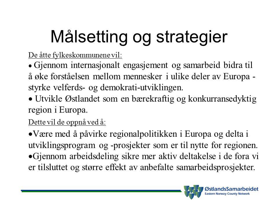 Målsetting og strategier De åtte fylkeskommunene vil:  Gjennom internasjonalt engasjement og samarbeid bidra til å øke forståelsen mellom mennesker i ulike deler av Europa - styrke velferds- og demokrati-utviklingen.