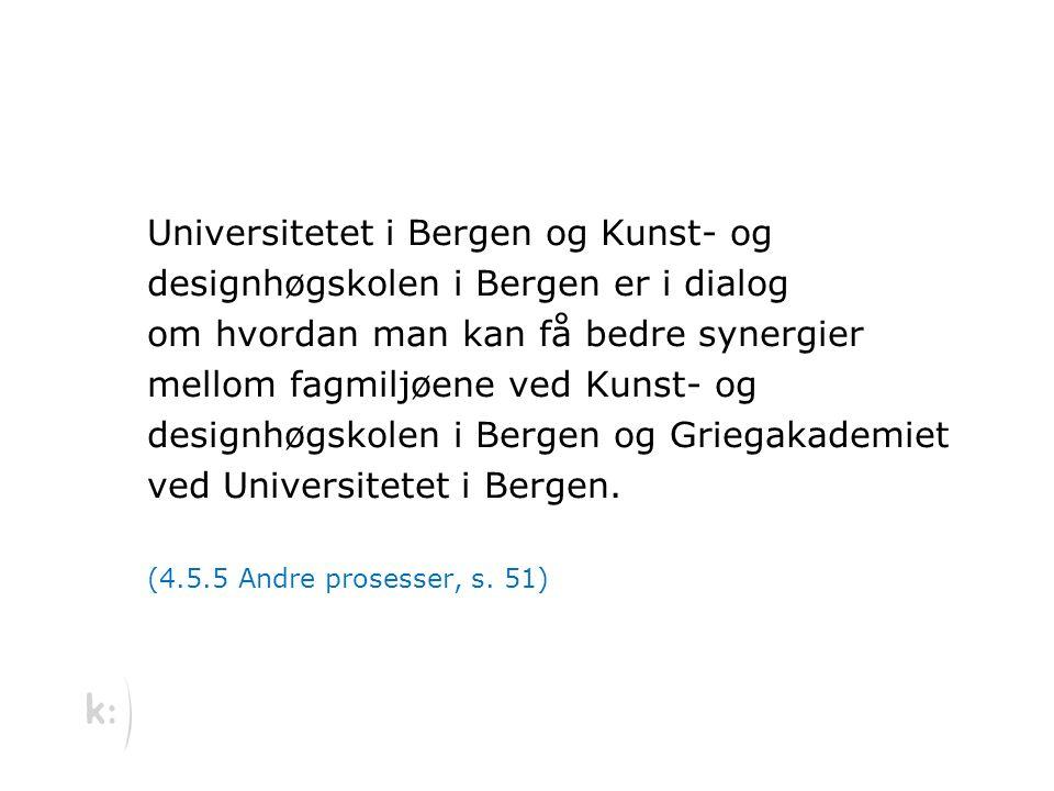 Universitetet i Bergen og Kunst- og designhøgskolen i Bergen er i dialog om hvordan man kan få bedre synergier mellom fagmiljøene ved Kunst- og designhøgskolen i Bergen og Griegakademiet ved Universitetet i Bergen.