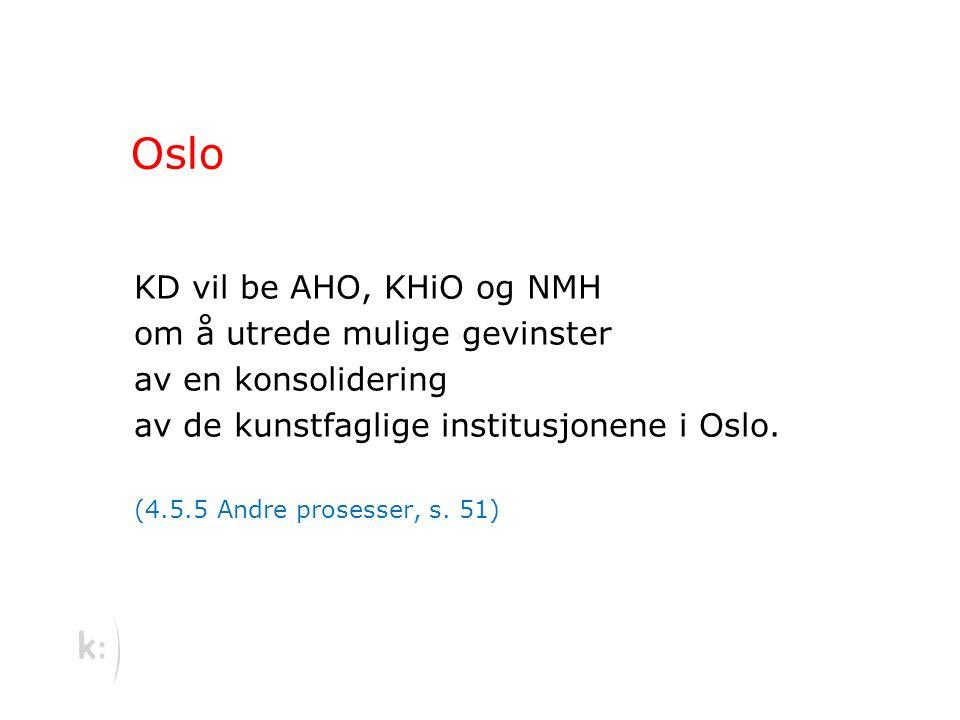 Oslo KD vil be AHO, KHiO og NMH om å utrede mulige gevinster av en konsolidering av de kunstfaglige institusjonene i Oslo.
