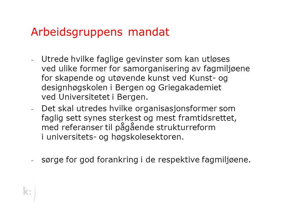 Arbeidsgruppens mandat – Utrede hvilke faglige gevinster som kan utløses ved ulike former for samorganisering av fagmiljøene for skapende og utøvende kunst ved Kunst- og designhøgskolen i Bergen og Griegakademiet ved Universitetet i Bergen.