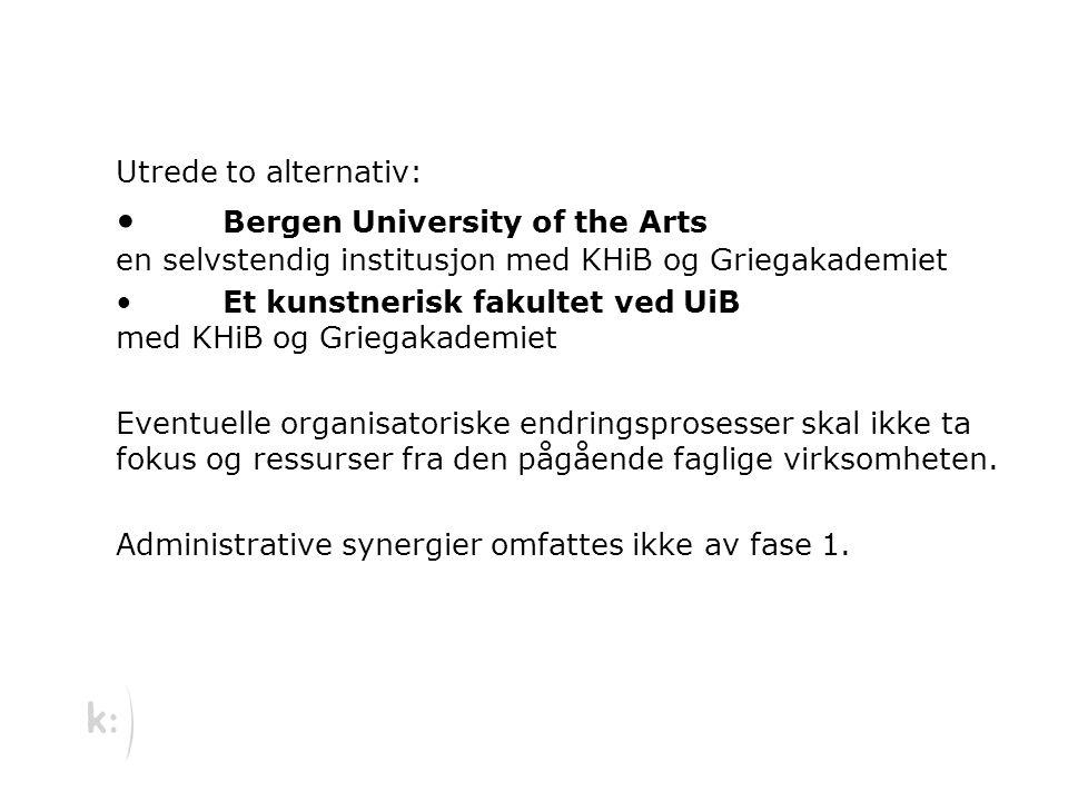 Utrede to alternativ: Bergen University of the Arts en selvstendig institusjon med KHiB og Griegakademiet Et kunstnerisk fakultet ved UiB med KHiB og Griegakademiet Eventuelle organisatoriske endringsprosesser skal ikke ta fokus og ressurser fra den pågående faglige virksomheten.