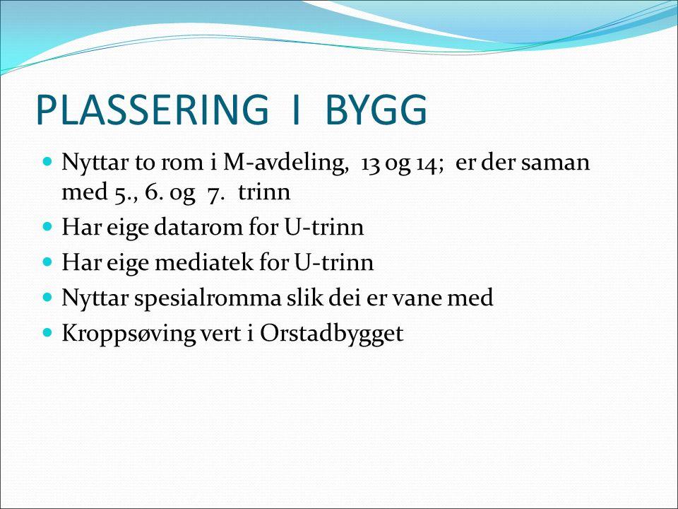 PLASSERING I BYGG Nyttar to rom i M-avdeling, 13 og 14; er der saman med 5., 6.
