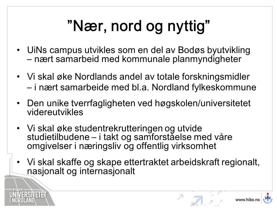Nær, nord og nyttig UiNs campus utvikles som en del av Bodøs byutvikling – nært samarbeid med kommunale planmyndigheter Vi skal øke Nordlands andel av totale forskningsmidler – i nært samarbeide med bl.a.