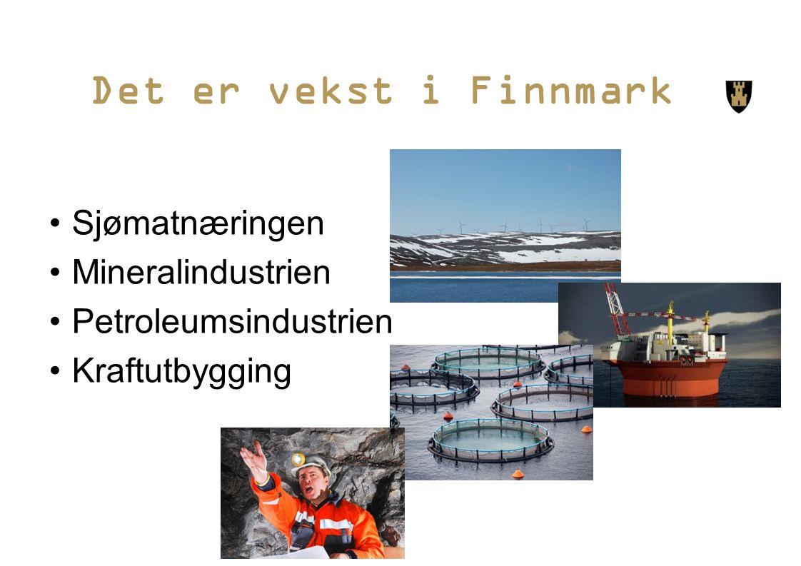 Det er vekst i Finnmark Sjømatnæringen Mineralindustrien Petroleumsindustrien Kraftutbygging