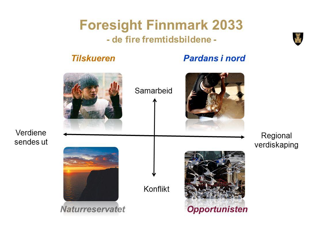 OpportunistenNaturreservatet TilskuerenPardans i nord Foresight Finnmark 2033 - de fire fremtidsbildene - Konflikt Samarbeid Regional verdiskaping Verdiene sendes ut