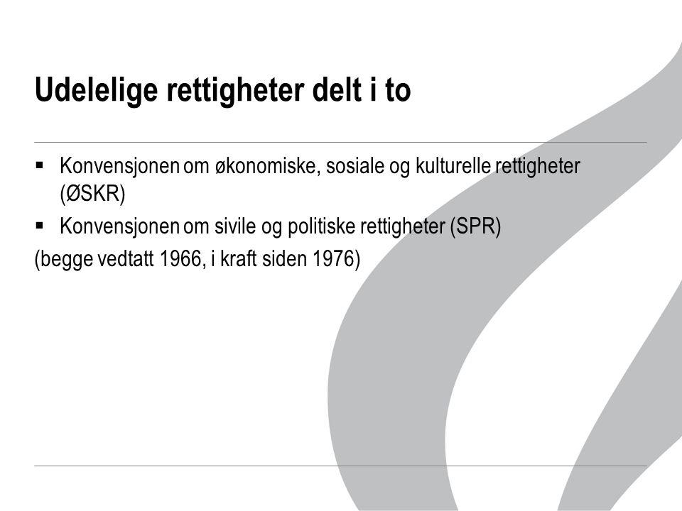 Udelelige rettigheter delt i to  Konvensjonen om økonomiske, sosiale og kulturelle rettigheter (ØSKR)  Konvensjonen om sivile og politiske rettighet