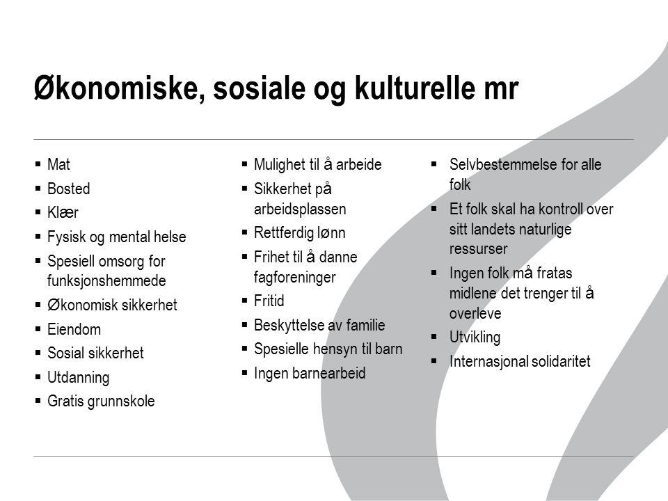  Mat  Bosted  Kl æ r  Fysisk og mental helse  Spesiell omsorg for funksjonshemmede  Ø konomisk sikkerhet  Eiendom  Sosial sikkerhet  Utdannin