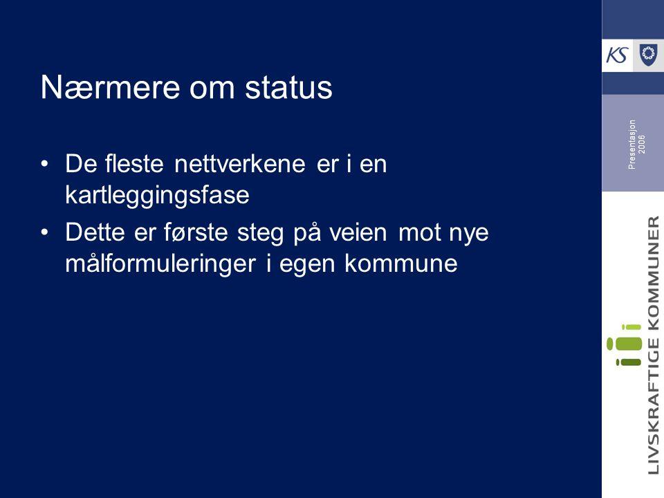 Presentasjon 2006 Nærmere om status De fleste nettverkene er i en kartleggingsfase Dette er første steg på veien mot nye målformuleringer i egen kommune
