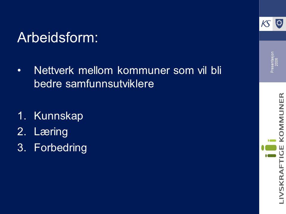 Presentasjon 2006 Arbeidsform: Nettverk mellom kommuner som vil bli bedre samfunnsutviklere 1.Kunnskap 2.Læring 3.Forbedring