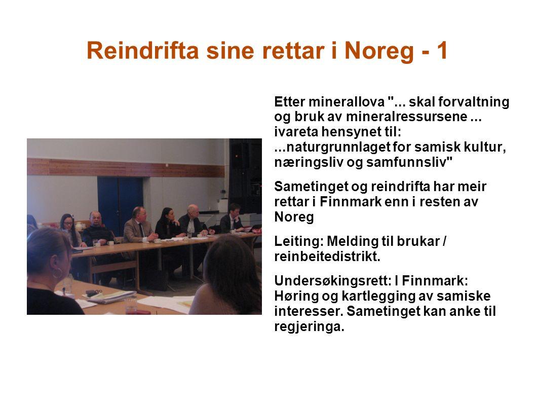 Reindrifta sine rettar i Noreg - 1 Etter minerallova ...