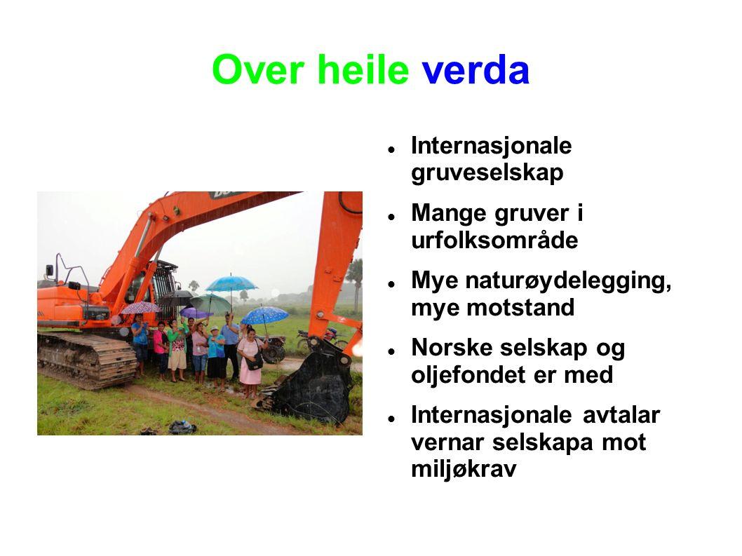 Over heile verda Internasjonale gruveselskap Mange gruver i urfolksområde Mye naturøydelegging, mye motstand Norske selskap og oljefondet er med Internasjonale avtalar vernar selskapa mot miljøkrav