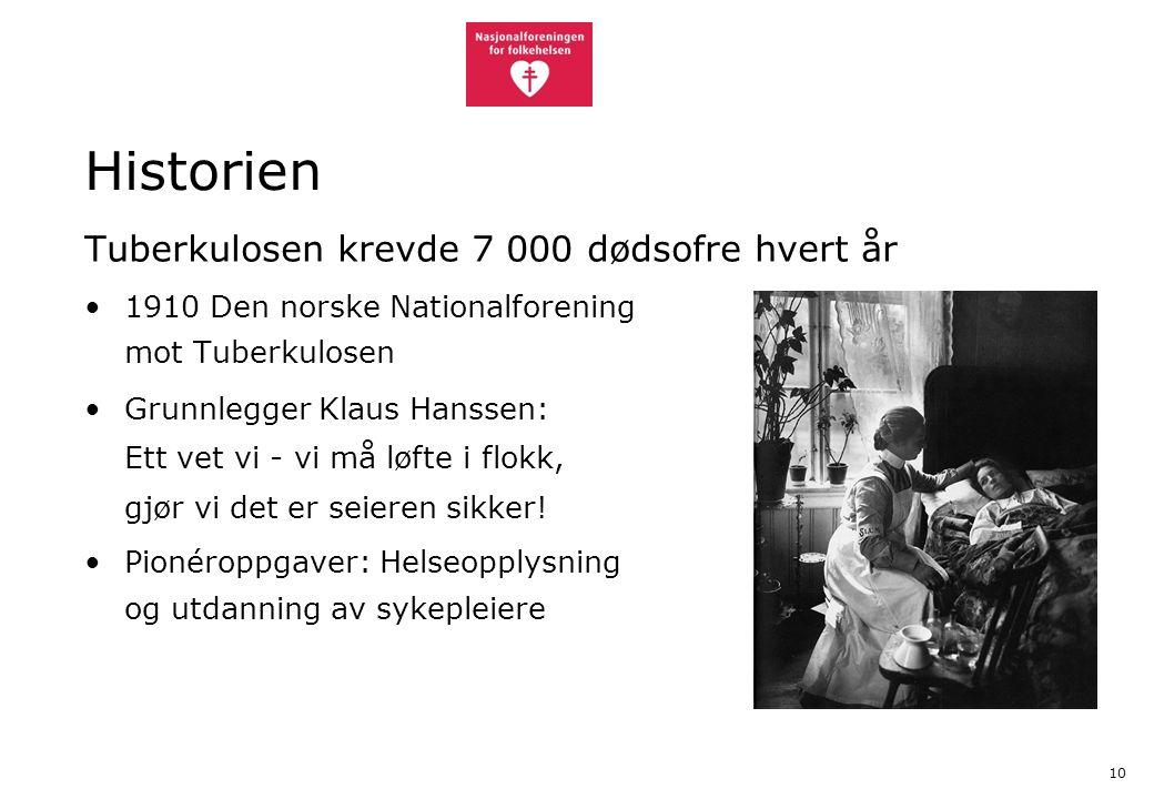 10 Historien Tuberkulosen krevde 7 000 dødsofre hvert år 1910 Den norske Nationalforening mot Tuberkulosen Grunnlegger Klaus Hanssen: Ett vet vi - vi må løfte i flokk, gjør vi det er seieren sikker.