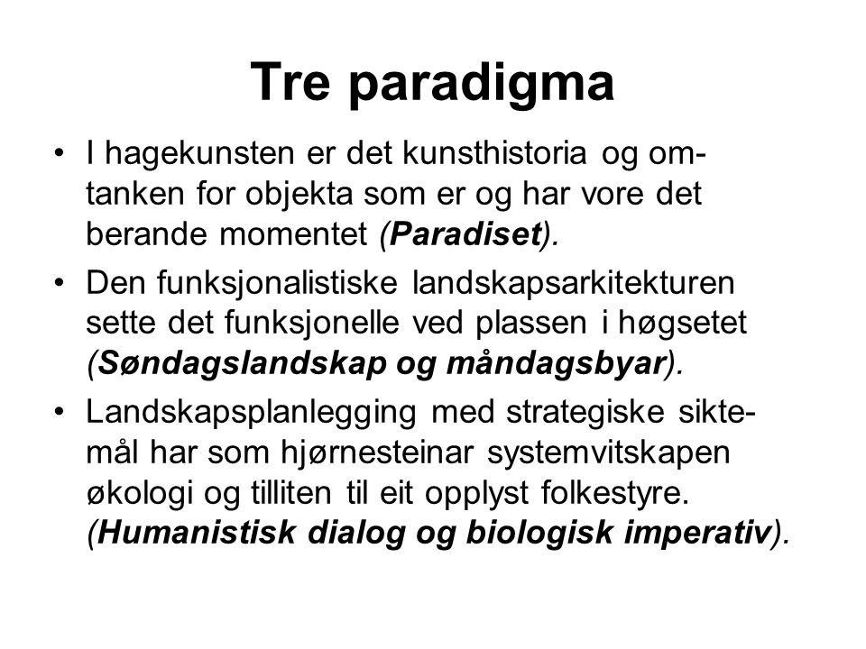 Tre paradigma I hagekunsten er det kunsthistoria og om- tanken for objekta som er og har vore det berande momentet (Paradiset).