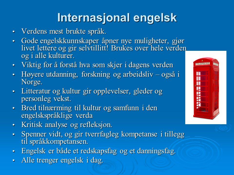Internasjonal engelsk Verdens mest brukte språk. Verdens mest brukte språk.