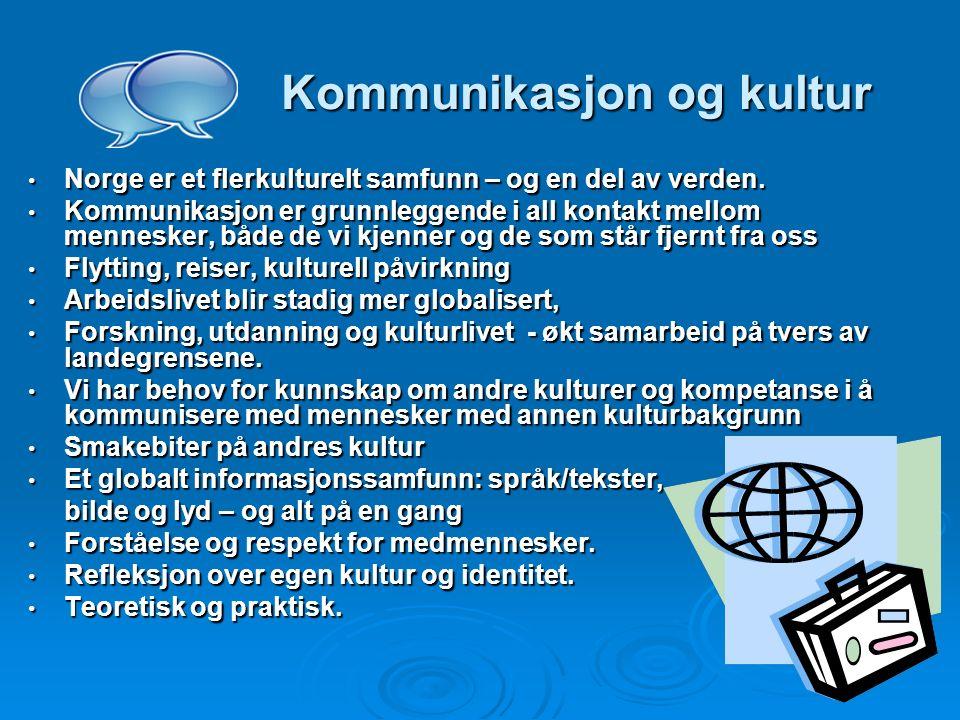 Kommunikasjon og kultur Kommunikasjon og kultur Norge er et flerkulturelt samfunn – og en del av verden.