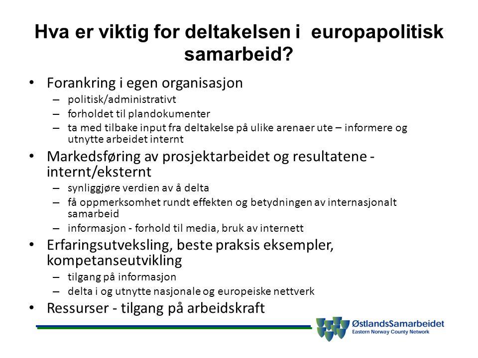 Hva er viktig for deltakelsen i europapolitisk samarbeid? Forankring i egen organisasjon – politisk/administrativt – forholdet til plandokumenter – ta