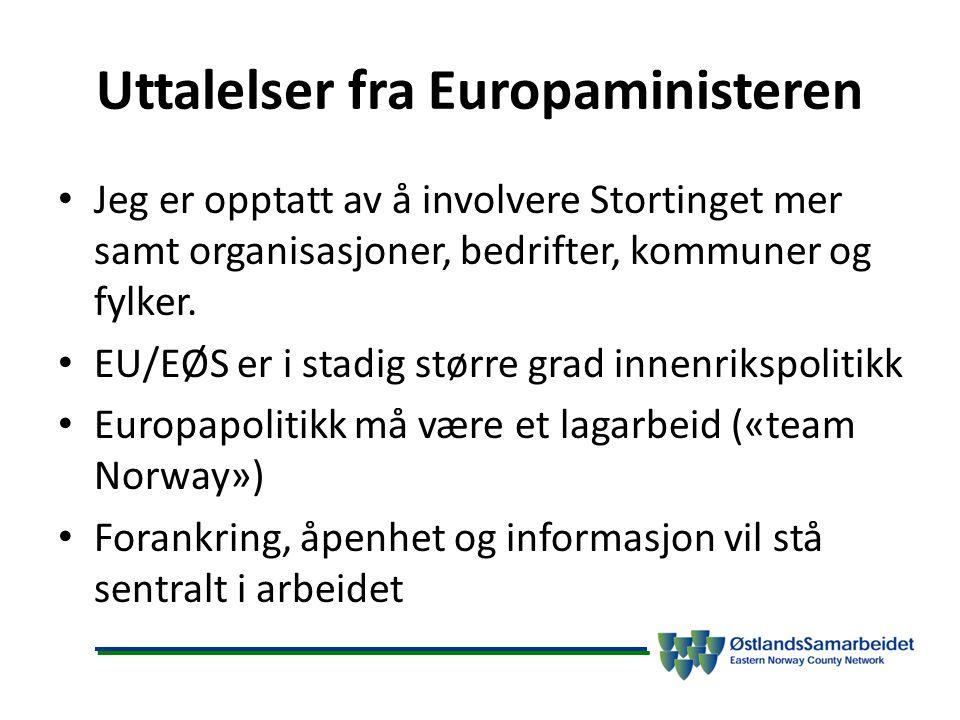 Uttalelser fra Europaministeren Jeg er opptatt av å involvere Stortinget mer samt organisasjoner, bedrifter, kommuner og fylker. EU/EØS er i stadig st