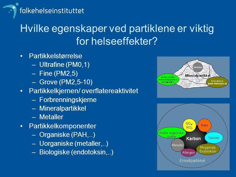 Hvilke egenskaper ved partiklene er viktig for helseeffekter? Partikkelstørrelse –Ultrafine (PM0,1) –Fine (PM2,5) –Grove (PM2,5-10) Partikkelkjernen/