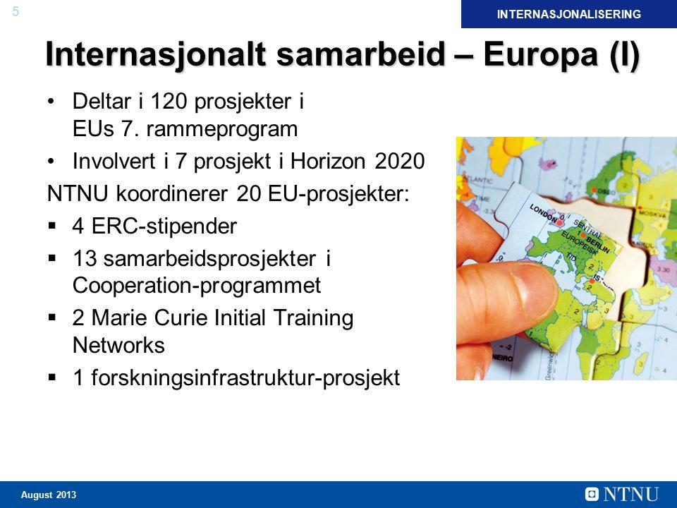 5 August 2013 Internasjonalt samarbeid – Europa (I) Deltar i 120 prosjekter i EUs 7. rammeprogram Involvert i 7 prosjekt i Horizon 2020 NTNU koordiner