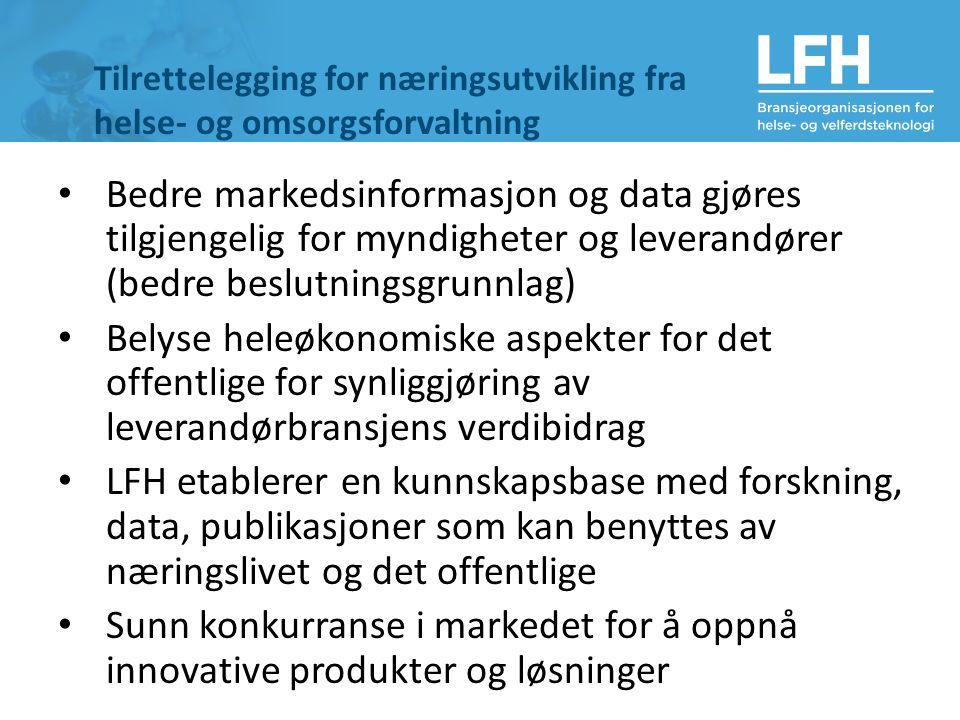 Tilrettelegging for næringsutvikling fra helse- og omsorgsforvaltning Bedre markedsinformasjon og data gjøres tilgjengelig for myndigheter og leverandører (bedre beslutningsgrunnlag) Belyse heleøkonomiske aspekter for det offentlige for synliggjøring av leverandørbransjens verdibidrag LFH etablerer en kunnskapsbase med forskning, data, publikasjoner som kan benyttes av næringslivet og det offentlige Sunn konkurranse i markedet for å oppnå innovative produkter og løsninger