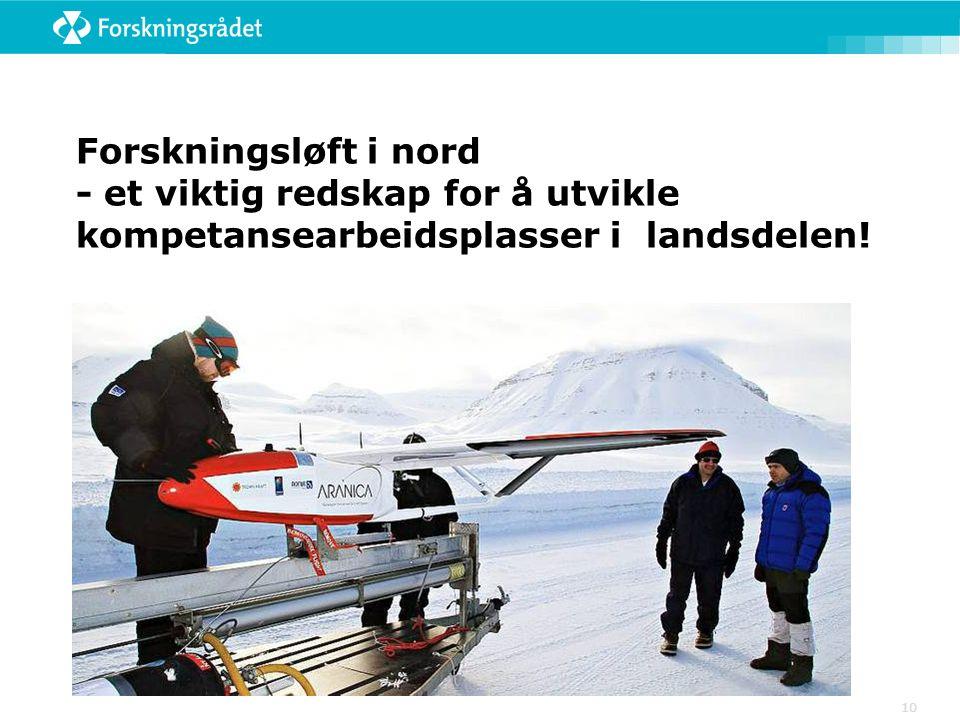 Forskningsløft i nord - et viktig redskap for å utvikle kompetansearbeidsplasser i landsdelen! 10