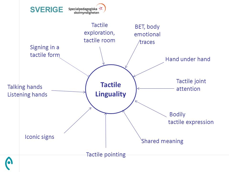 Tactile Linguality BET, body emotional traces Tactile exploration, tactile room Tactile pointing Bodily tactile expression Talking hands Listening han