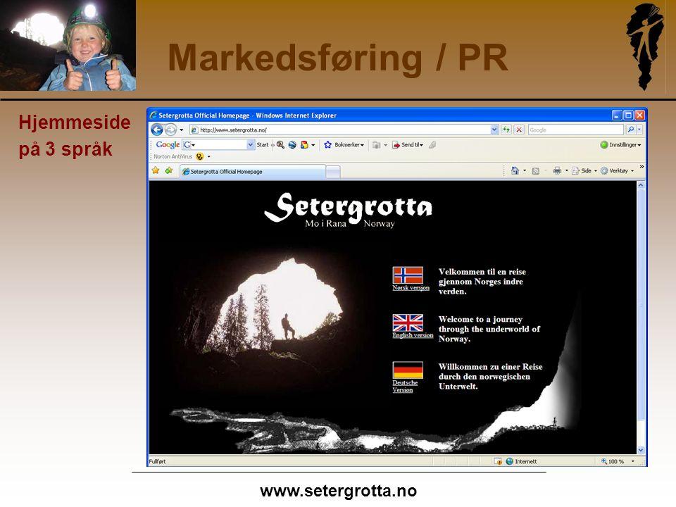 www.setergrotta.no Markedsføring / PR Hjemmeside på 3 språk