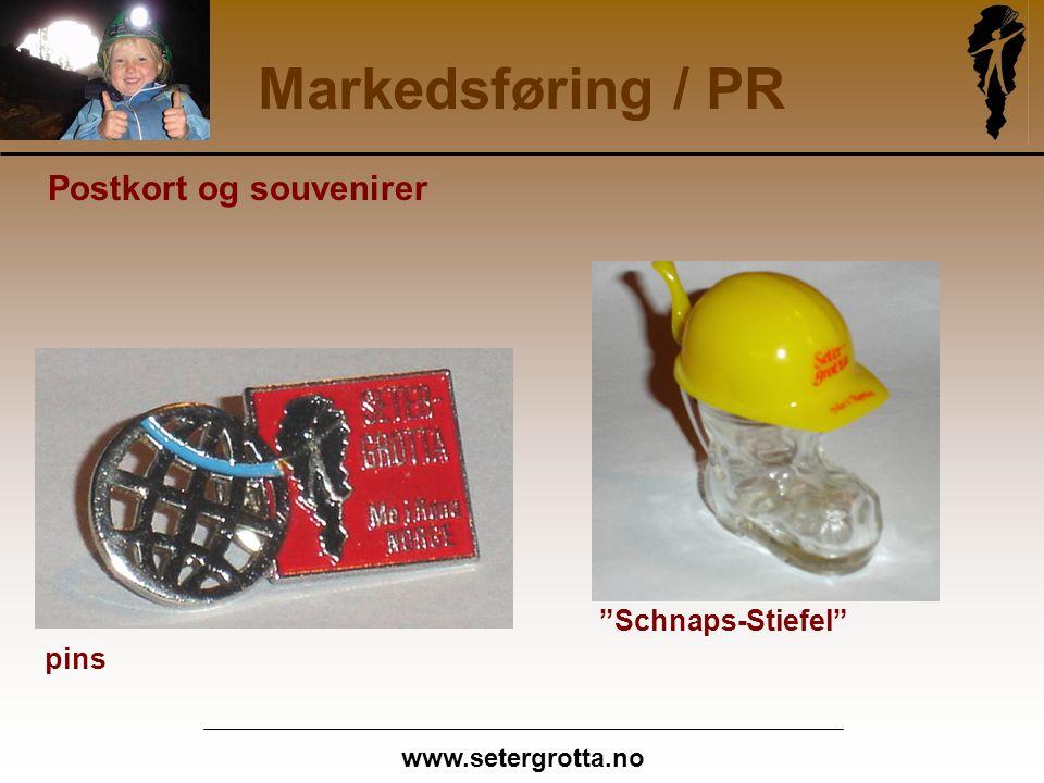 www.setergrotta.no Markedsføring / PR Postkort og souvenirer Schnaps-Stiefel pins