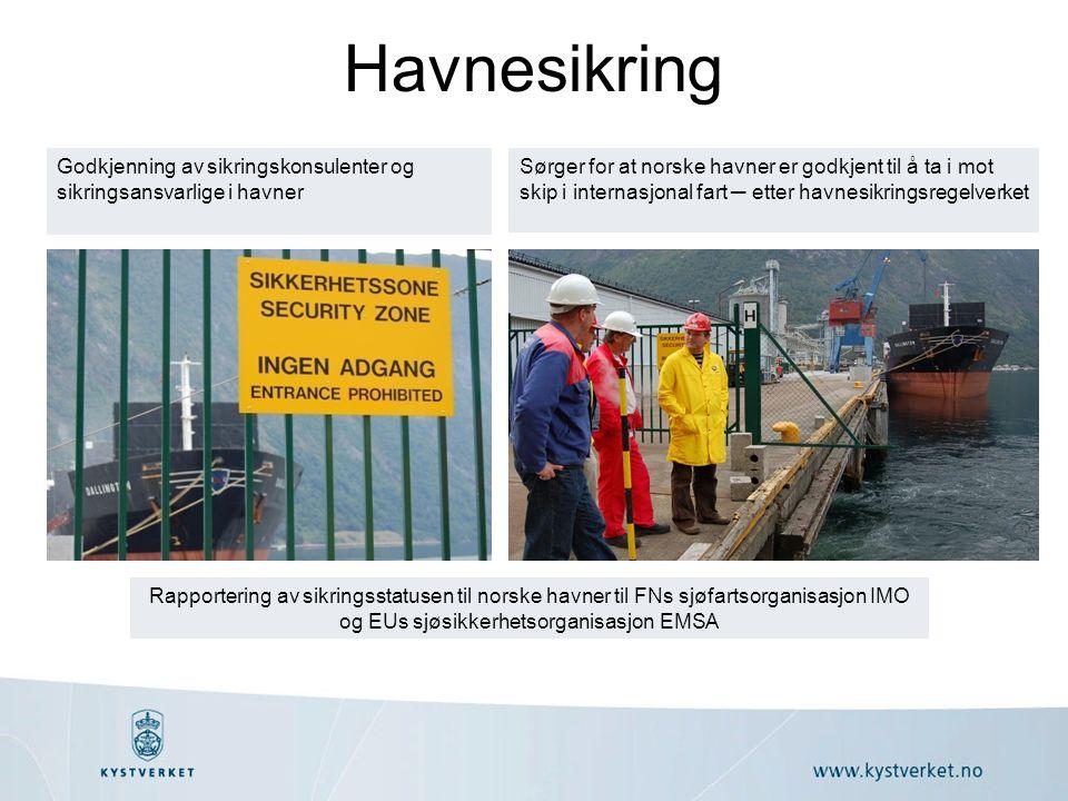 Havnesikring Godkjenning av sikringskonsulenter og sikringsansvarlige i havner Rapportering av sikringsstatusen til norske havner til FNs sjøfartsorganisasjon IMO og EUs sjøsikkerhetsorganisasjon EMSA Sørger for at norske havner er godkjent til å ta i mot skip i internasjonal fart ─ etter havnesikringsregelverket